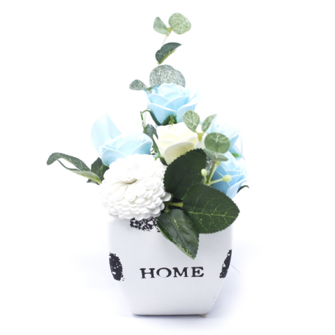 Soothing Blue Soap Bouquet Petite Flower Pot